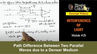 25. Physics | Interference | Path Difference Between Two Parallel Waves due to a Denser Medium