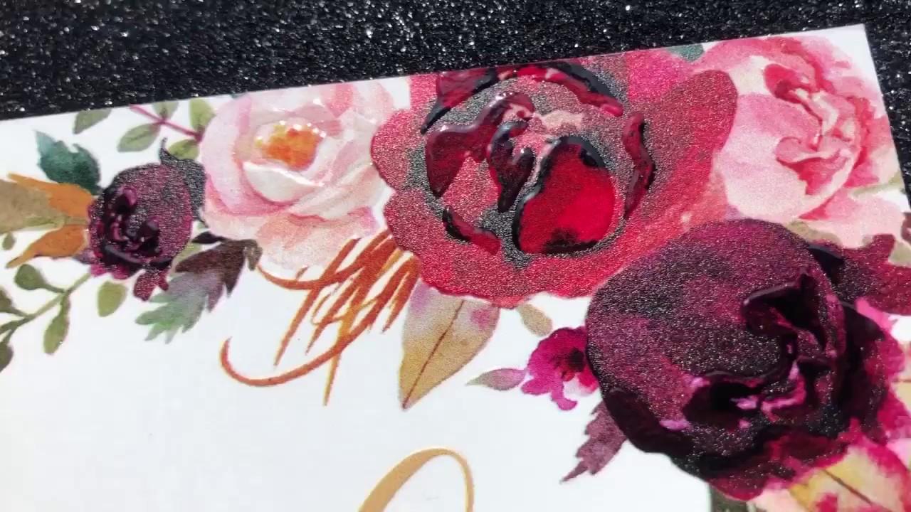boho fall burgundy and marsala floral UV printing wedding invites ...