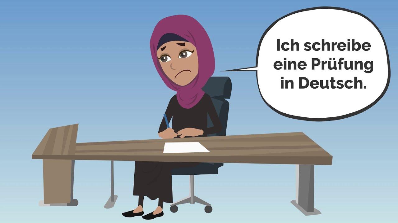 Deutsch lernen mit Dialogen | Amira hat eine Deutschprüfung