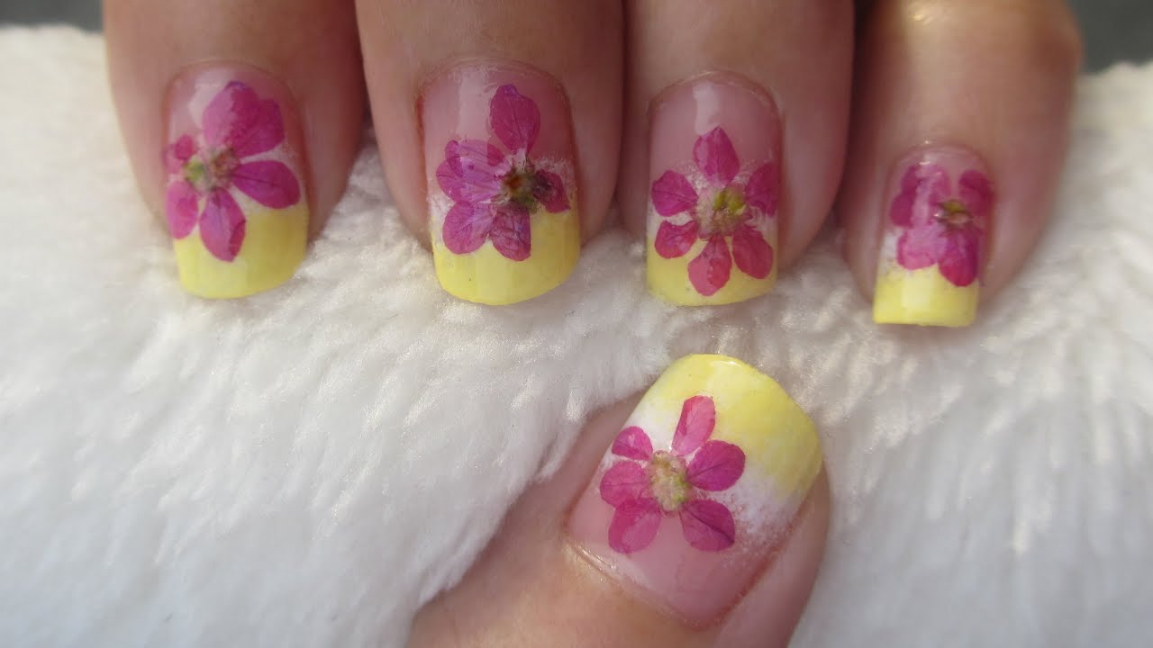 Real Flowers Nail Art Youtube
