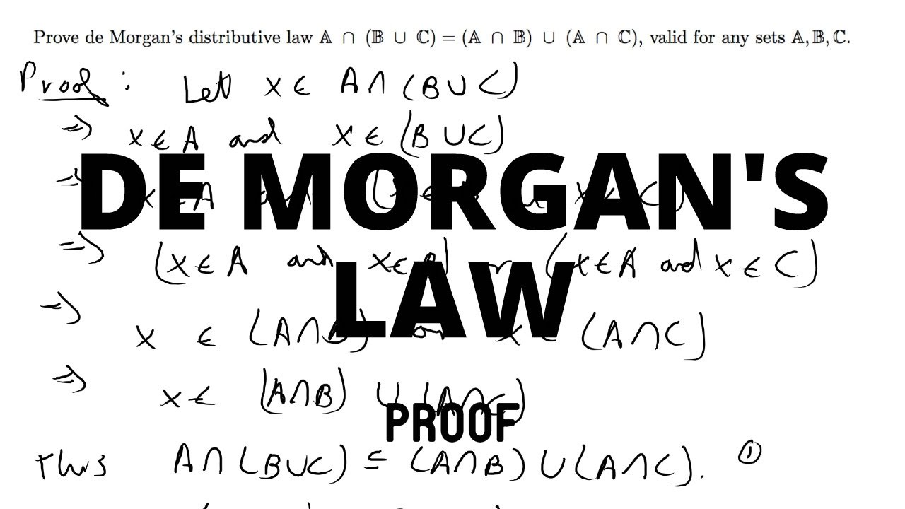 proof de morgan s distributive law a b c a b a
