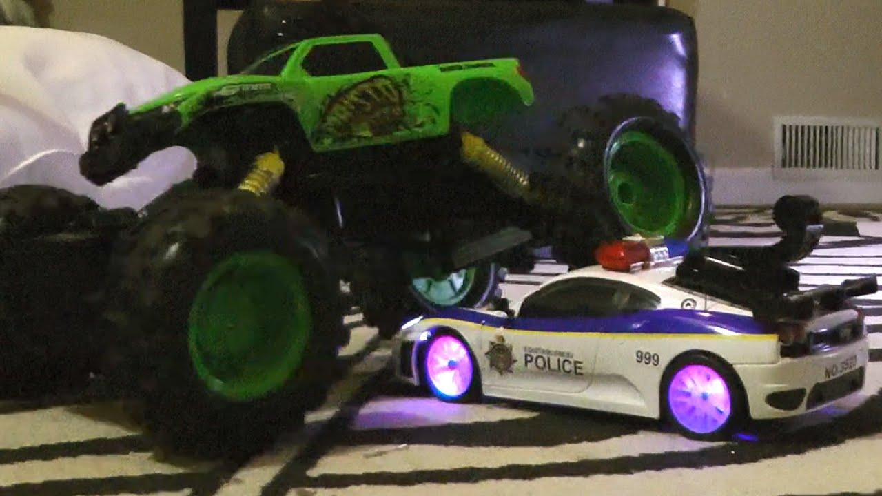 Rc Police Car Vs Monster Truck Battle Toy Cars Action Youtube
