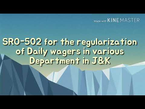 SRO-520 For Regularization Of Daily Wagers working in various departments in Jammu & kashmir Governm