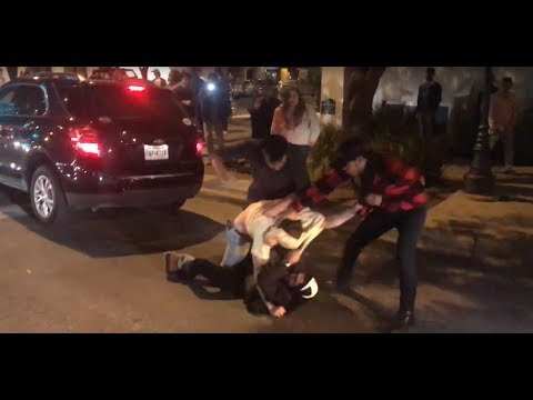 Street Fight on 6th St in Austin, Tx - College Kids Brawl on Black Friday