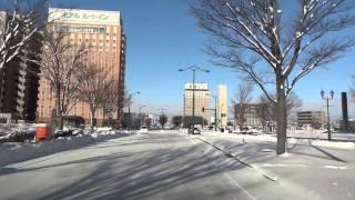 雪の山形市内を走る Running Winter Road