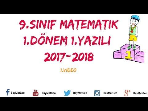 9.Sınıf Matematik 1.Dönem 1.Yazılı Matematik  (1.Video)