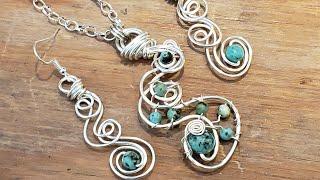 Simple Swirl Silver Earrings/Necklace Set - Eps 220