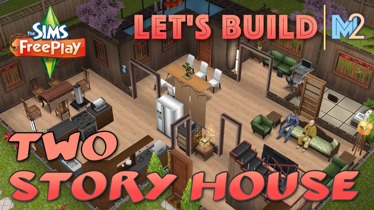 Sims freeplay lets build a 2 story house live build tutorial youtube