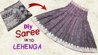 Transform old saree to designer lehenga // Diy saree convert in to lehenga