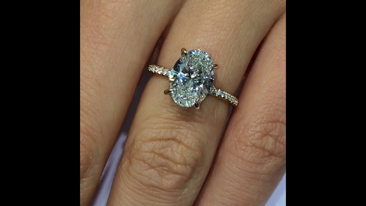 2.60 ct Oval cut Diamond Engagement Ring in Rose Gold - YouTube