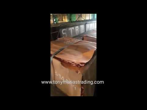 Copper cathodes in warehouse