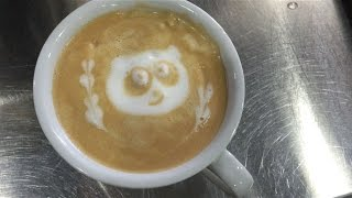 Latte Art - How to draw a cute panda with love