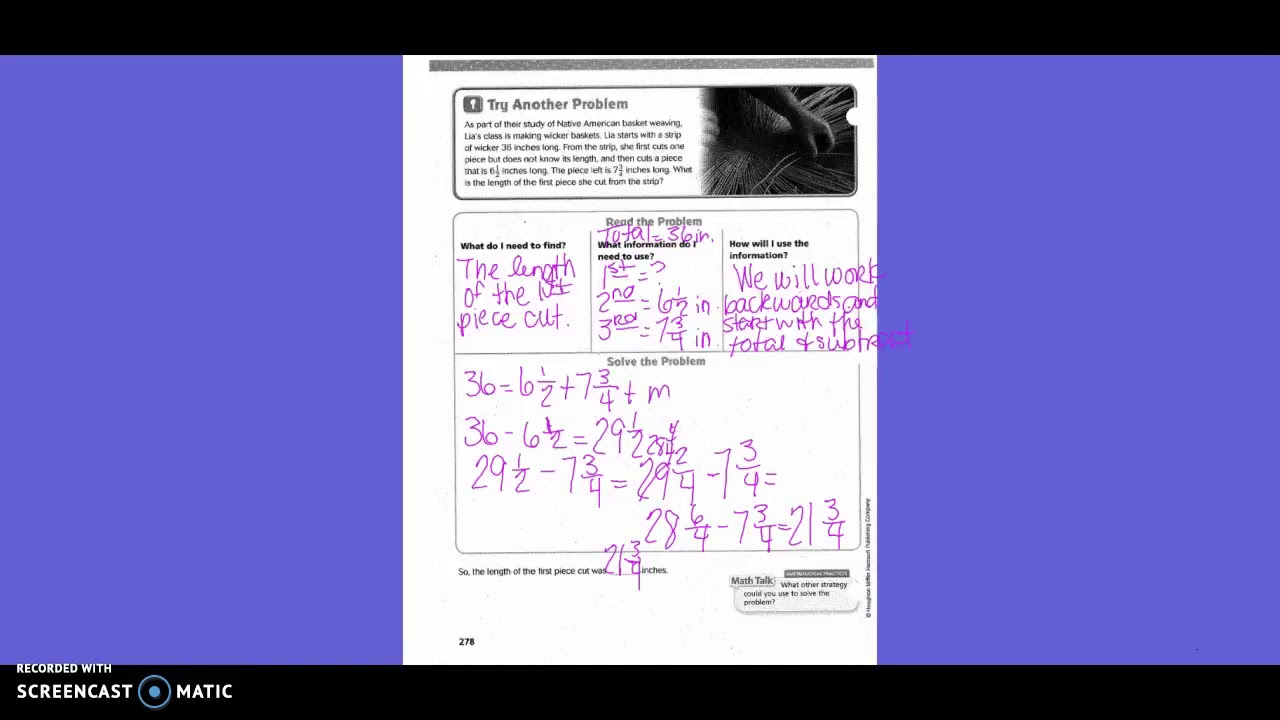 problem solving practice addition and subtraction lesson 6.9