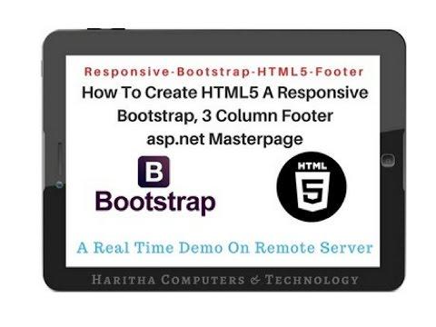 HTML5 - Footer 3 COLUMN Responsive Bootstrap(v3 3 7) For ASP NET