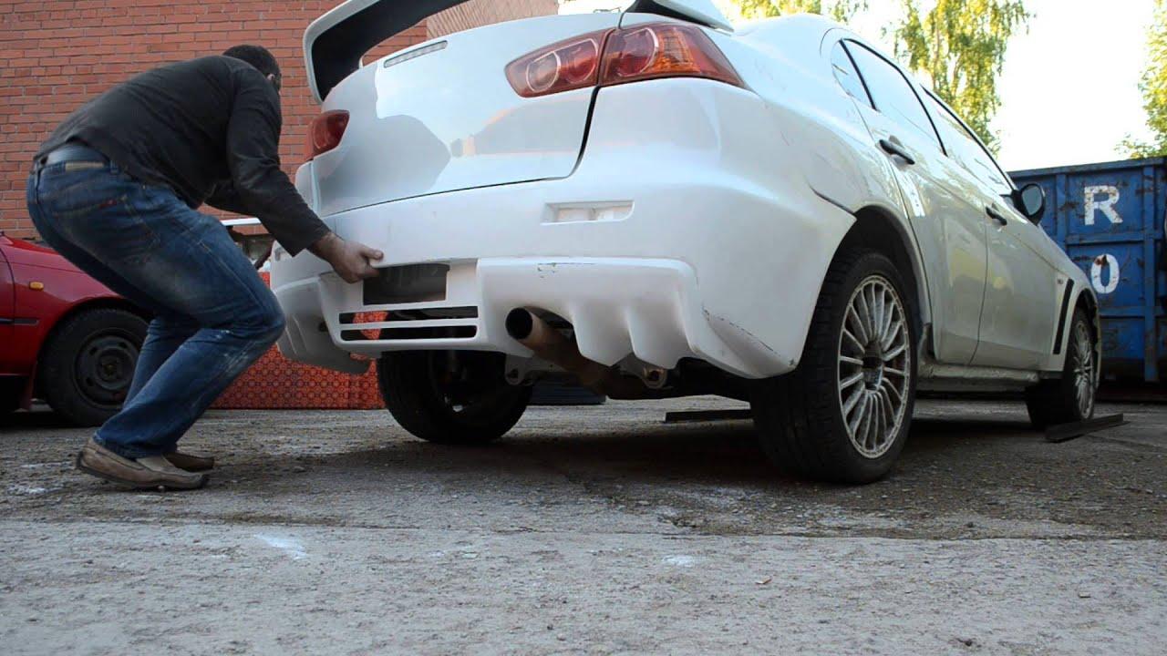 Lancer Evo 10 >> Mitsubishi Lancer Evolution X rear bumper - YouTube