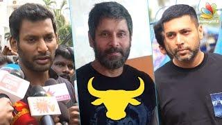 Real heroes are in Marina | Vikram, Vishal at Nadigar Sangam Protest