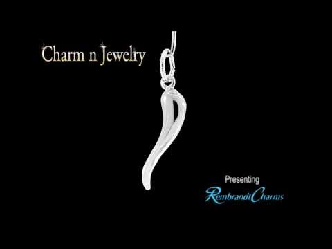 Italian Horn Sterling Silver Charm Style 5635