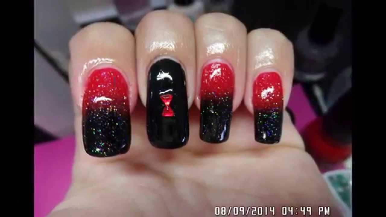 Black Widow Inspired Nail Art