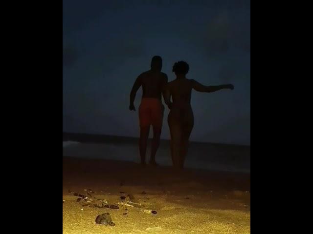 Zodwa Wabantu & Her Ben 10 swimming: Dirty Dancing Late at night at the beach. Love birds.