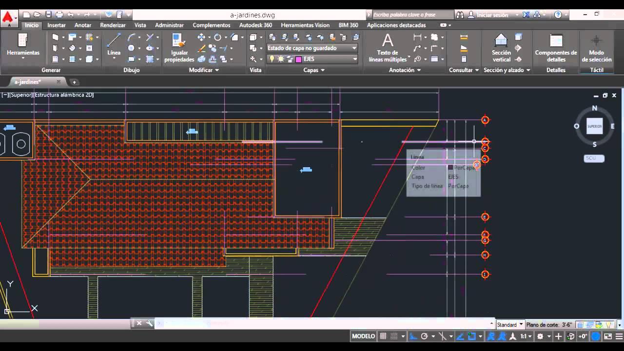 Ejes y cotas en planta de azotea autocad 2015 v16 youtube for Ejes arquitectonicos