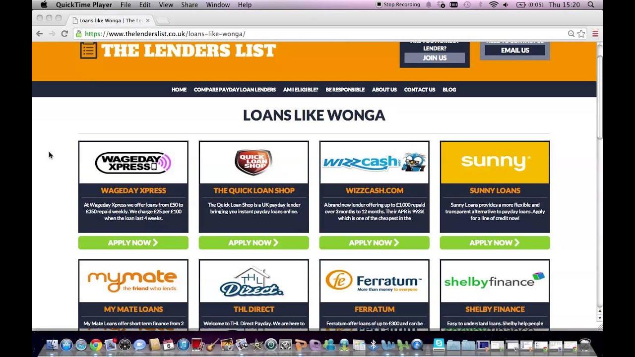 Loans Like Wonga - The Lenders List - YouTube