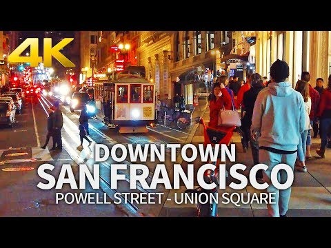 SAN FRANCISCO - Union Square, Powell Street Walk In Downtown San Francisco, California, Travel, 4K