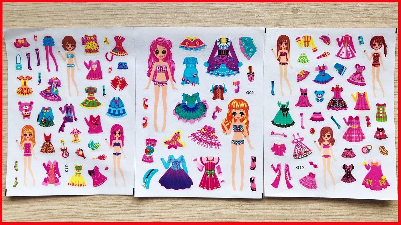 Đồ chơi dán hình váy đầm búp bê, 100 bộ quần áo giày dép & phụ kiện Sticker dolly (Chim Xinh)
