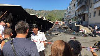 Последствия большого пожара в Геленджике на Центральном рынке