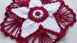 Thalposh design, crochet table cover, woolen rumal,crosia thalposh, #170,by Santosh All Art
