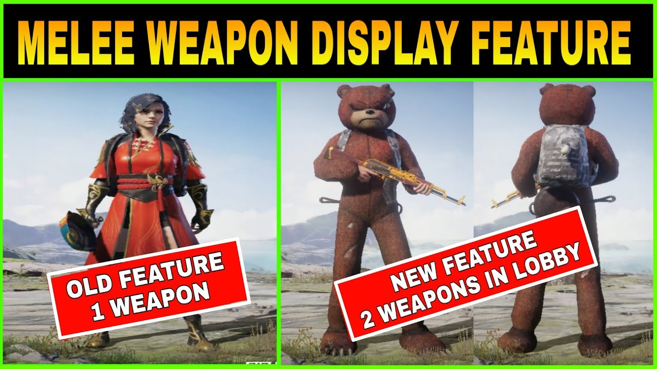 MELEE WEAPON DISPLAY FEATURE IN PUBG MOBILE || GUNS IN SPAWN ISLAND 😍 -  YouTube