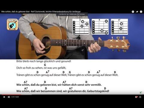 6.1 Wie schön, daß du geboren bist - Rolf Zuckowski, leichte Gitarrenbegleitung für Anfänger
