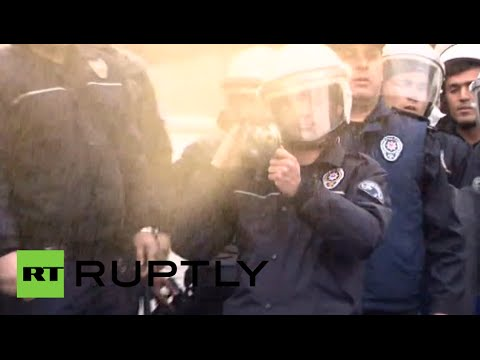 Turkish riot police teargas protesting health workers