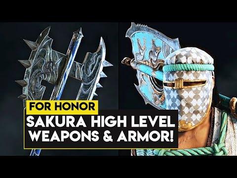 For Honor: ALL SAKURA HIGH LEVEL ARMOR & WEAPONS! New Season 10 Hero Sakura Weapons & Armor!