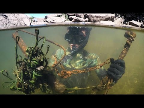 Found Knife, Fishing Gear, Anchors and More Underwater in River! (Snorkeling) | DALLMYD