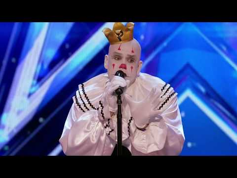 Party Sad Clown Stuns Crowd with Sia's Chandelier - America's Got Talent 2017