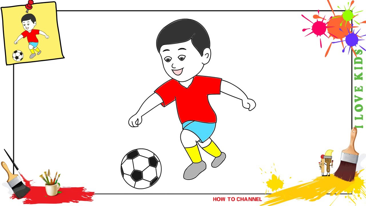 How to draw a boy playing soccer EASY  SLOWLY step by step for