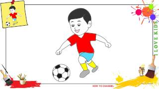 How to draw a boy playing soccer EASY & SLOWLY step by step for kids