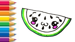 How To Draw Fruits | Coloring Watermelon | Kids Learn Drawing | Art Colors for Children