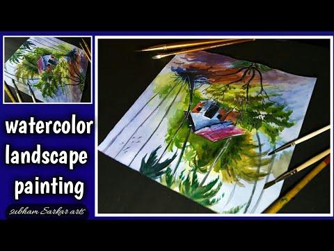 watercolor landscape painting/watercolor village painting /watercolor scenery 😄🔥🔥