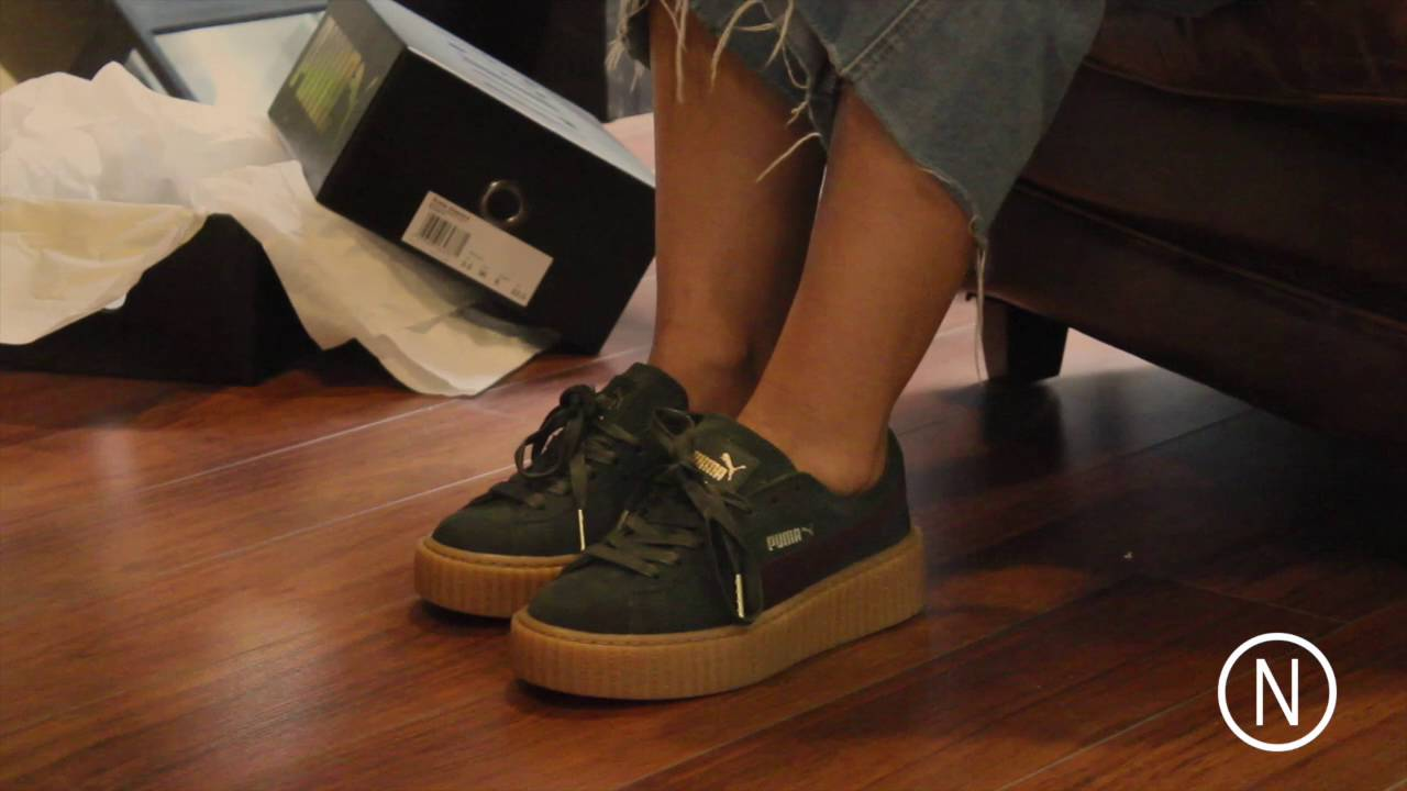buy online 78158 9fa32 On Feet Puma Fenty by Rihanna Creeper Green Bordeaux NOIRFONCE