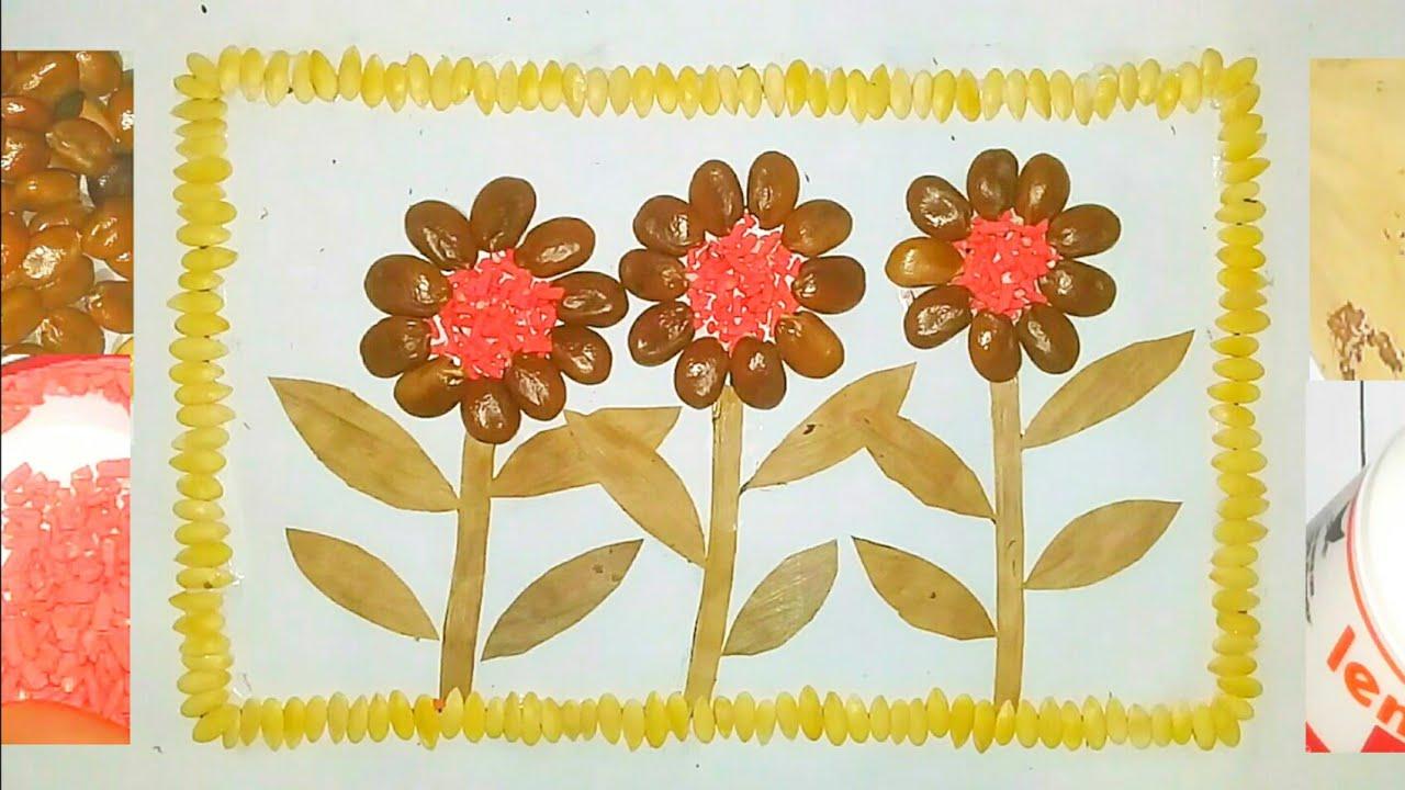 Cara Membuat Mozaik Dari Daun Kering Dan Biji Bijian Gambar Bunga Youtube