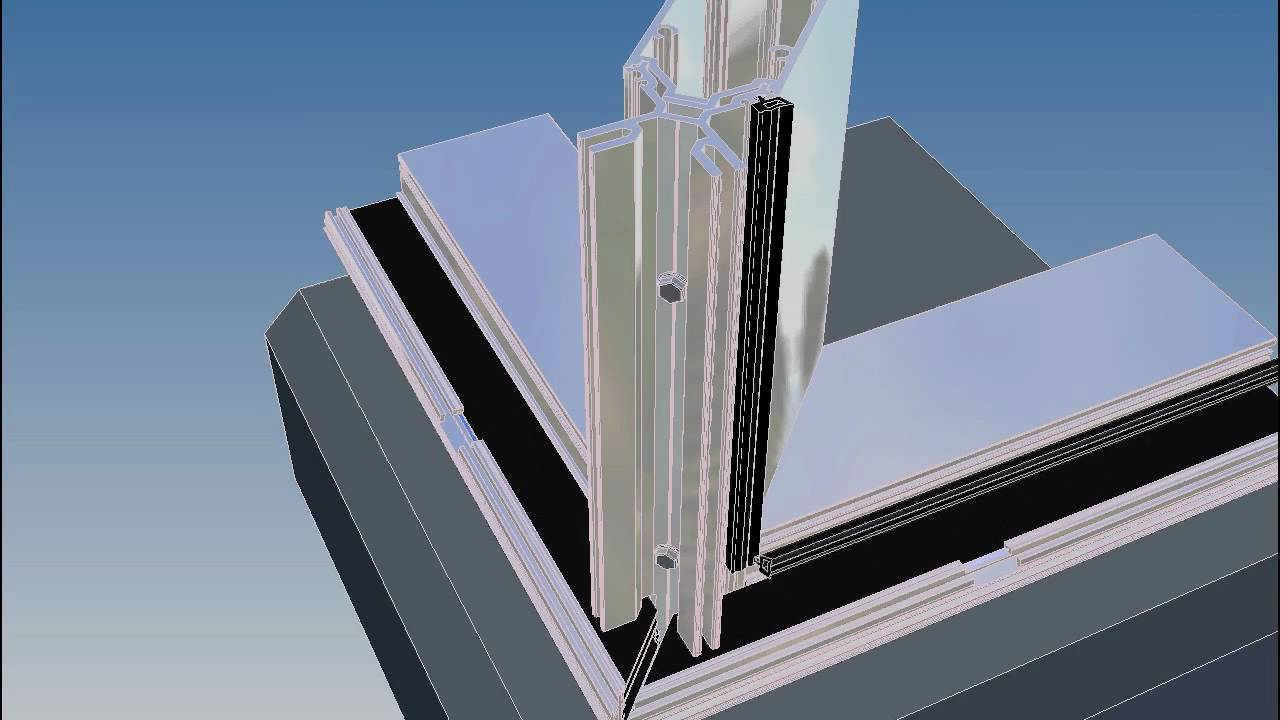 Curtain Wall Assembly : S degree corner assembly youtube