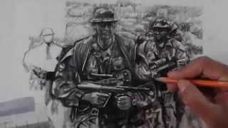 Charcoal Drawing of Soldier