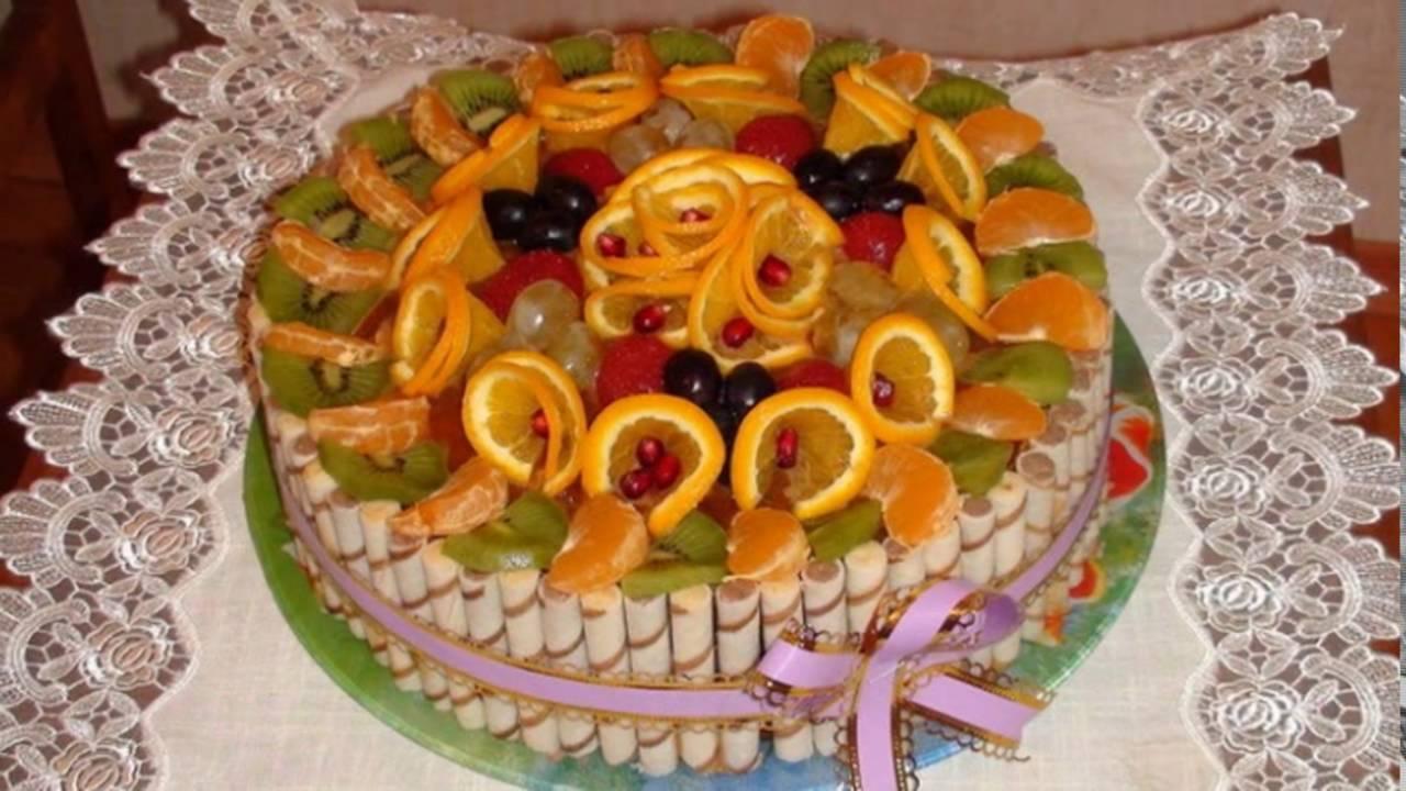 Как украсить торт своими руками из фруктов фото 594