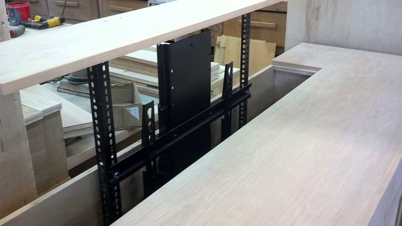 Hafele 65 Tv Lift In Custom Cherry Cabinet Youtube