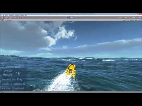 High wave physics ocean with speedboat, submarine and vehicles