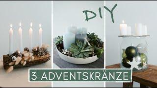 DIY Adventskranz - 3 moderne Ideen mit Sukkulenten, Weihnachtsbaumkugeln und Holz