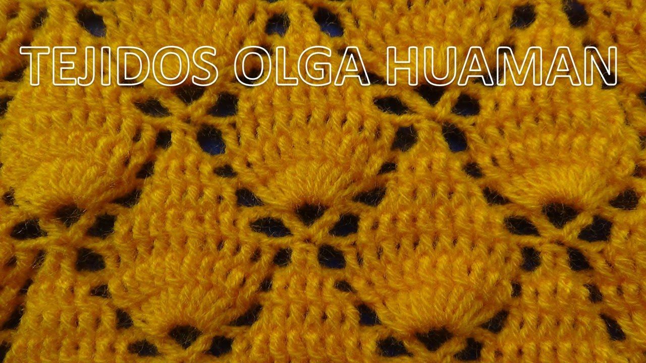 Crochet: Punto Hojas en Relieves paso a paso para chales y gorros ...