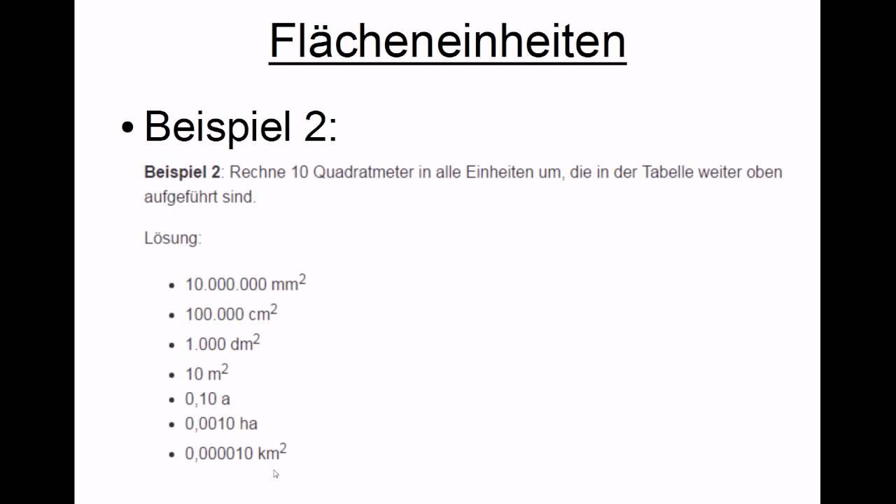 Fl cheneinheiten umrechnen youtube for Tabelle quadratmeter