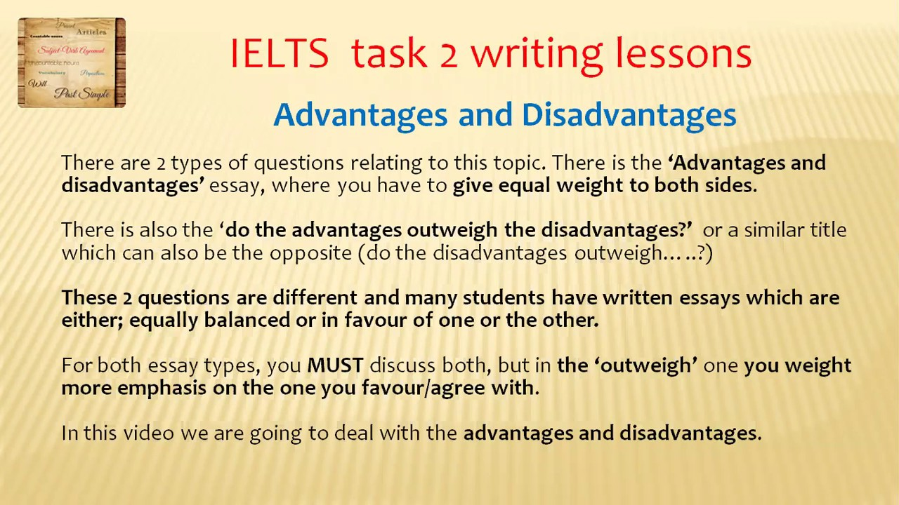 Ielts writing task 2 advantages and disadvantages essay topics english essays for intermediate free download